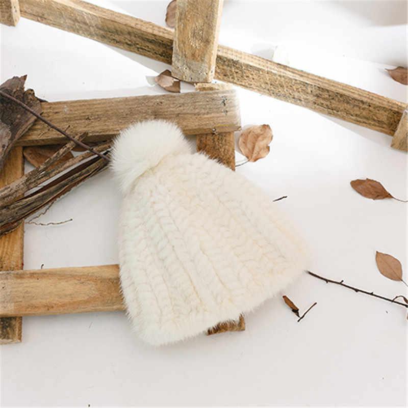 Nova Moda Autêntica Real Natural Tecidos À Mão-de Malha Chapéu de Pele de Vison Chapéu Feminino Chapéu do Inverno Da Moda Acessórios de Pele De Raposa bola.