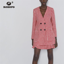 ROHOPO V-Collar Double Breast Butttons Slim Houndstooth Pink Blazer Side Pockets British Academy Pleated Long Outwear #9559