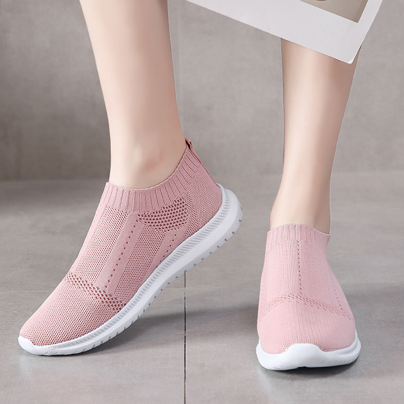 Summer Platform Sneakers Women Shoes Casual Knit Mesh Soft Sock Sneakers Slip On Flats Shoes Women Loafers Gym Shoes Plus Size