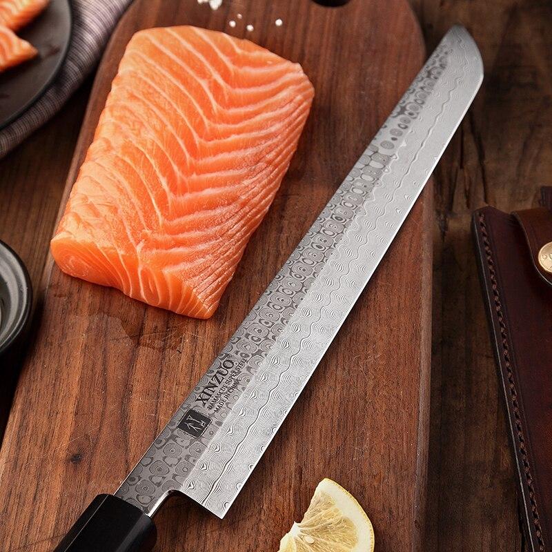 Image 4 - XINZUO 10.5 Sakimaru Knife 110 Layers Damascus Steel Sushi Sashimi Salmon Fish Filleting Kitchen Chef Knife Octagonal HandleKitchen Knives   -