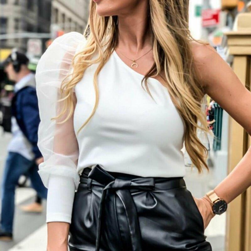 One Shoulder Bodycon Bodysuits Summer New 2019 Women Sexy Mesh Long Sleeve Skinny Party Streetwear Body Black White