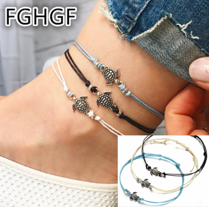 1/3PCS Vintage Multiple Layers Anklets for Women Bohemian Retro Turtle Rope Anklet Sexy Beach Bracelet Chain Animal Foot Jewelry