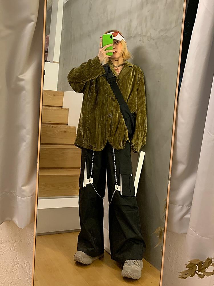 Velvet Retro Women Suit Jacket Loose Solid Black Stylish Simple Casual Jacket Korean High Street Women Jacket Spring MM60NXZ