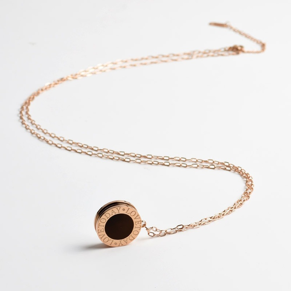 2020 Fashion Design 9k Rose Gold Colou Long Necklace Women Black And White Color Ring Style Christmas Jewelry Chains Necklaces Buy At The Price Of 16 10 In Aliexpress Com Imall Com