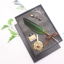 Natural dipped feather steel pen calligraphy stationery office set exquisite gift set promotional feather pen set