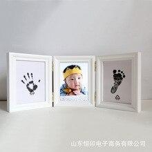 Стиль чернил три сложения рамки ребенок ручная печать глина набор младенец руки и ноги печать ручной работы мама и ребенок подарок от имени