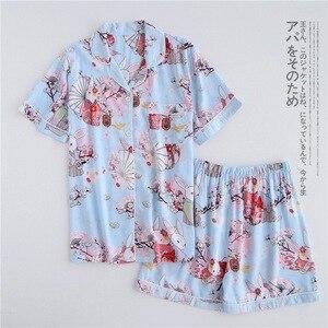 Image 4 - 여름 레이온 반바지 잠옷 세트 여성 잠옷 일본 신선한 꽃 짧은 소매 잠옷 세트 여성