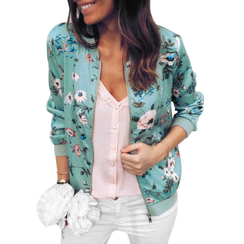 Oeak Wanita Gambar Bunga Jaket Bomber Wanita Kasual Zipper Up Retro Mantel 2020 Lengan Panjang Plus Ukuran Pendek Biker jaket