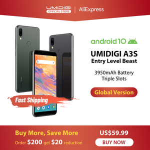 UMIDIGI A3S Android 10 глобальная полоса 3950 мАч 16MP + 5MP MT6761 5,7