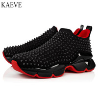 K Low heel shoe and Slip On Black Rivet Front Red bottoms For Man Sports Shoes Sneakers Weave Cow leather casual Loafers Flat