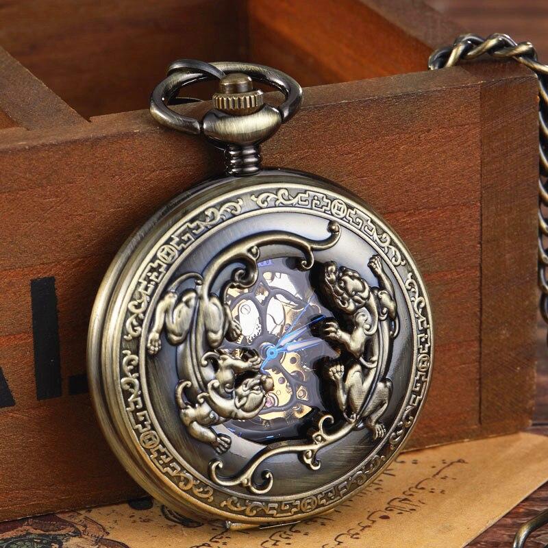 New Arrival Bronze Steel Vintage Retro Steampunk Skeleton Designer Lizard Mechanical Hand Wind Pocket Watch Men FOB Chain Clock