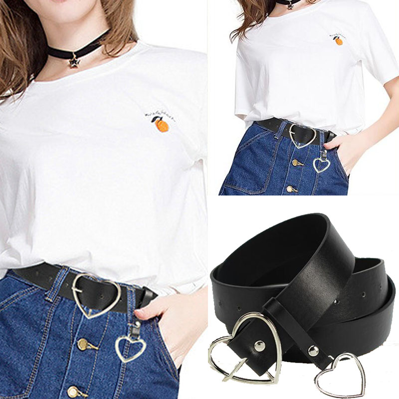 Harajuku PU Leather Belts For Women Metal Buckle Heart Belt Waistband Wedding Party Dress Jeans Decor For Ladies Belt