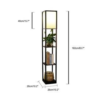 Image 5 - Moderno led decorativo loft lâmpada de assoalho de madeira preto branco lâmpada pé com prateleira armazenamento mesa para casa sala estar quartos