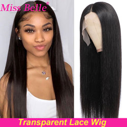 30 Inch Bone Straight Lace Front Human Hair Wigs Transparent Lace Frontal Wig 4x4 Lace Closure Brazilian T Part Human Hair Wigs