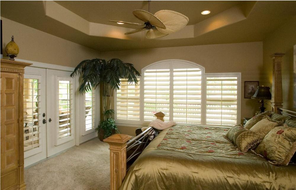 Custom Basswood Plantation Shutters Wooden Blinds Solid Wood Shutter Louvers PS229