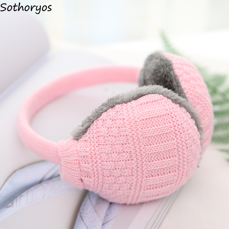 Earmuffs Women Patchwork Simple All-match Thicker Winter Warm Harajuku Couple Causal Womens High Quality Accessories Lovely Chic