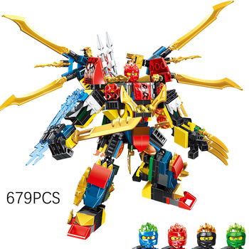 679pcs NINJA Dragon Chariot 4 in 1 Mech Kai Jay Cole Zane Lloyd ninjagoingly anime action Figures building Blocks bricks toys 1