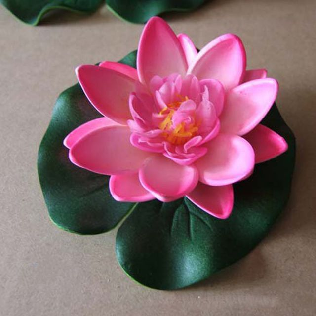 3 Pcs Floating Lotus Mixed Color Artificial Flower Lifelike Water Lily Micro Landscape for Wedding Pond Garden Fake Plants Decor 5