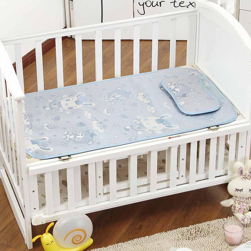 Summer Baby Changing Mattress 120*60 CM Baby Cooling Mat With Pillow Newborn Ice Silk Sleeping Crib Pad Infant Bedding Set