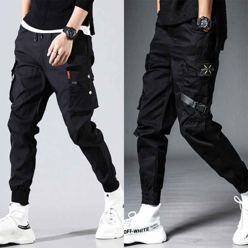 ผู้ชายกระเป๋าด้านข้าง Harem กางเกง 2020 ฤดูใบไม้ร่วง Hip Hop สบายๆริบบิ้นชาย Joggers กางเกงแฟชั่น Streetwear กางเกงสีดำ