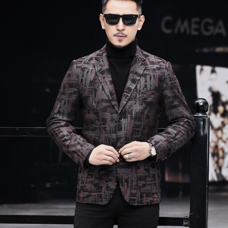 Brand Real Leather Jacket Men Fashion 2020 Office Single Breasted Sheepskin Blazer Casual Printed Suit Jacket Plus Size 4XL