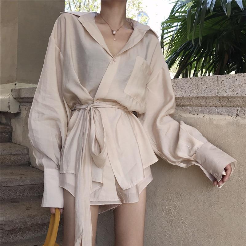 Women 2 Pieces Suits Korean Fashion Summer Long Shirt Shorts Sets Long Sleeve Irregular Blouse Mini Pants Suits Elegant OL Suits