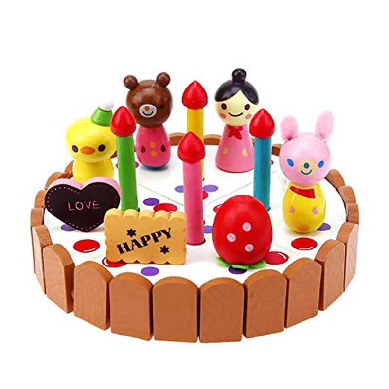 1 pc de madeira mini bolo de aniversario criancas jogar brinquedo do bolo conjunto de brinquedo