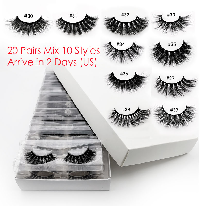20 PCS Lashes In Bulk Mix 3d Mink Lashes Wholesale Eyelashes Natural Mink Eyelashes Wholesale False Eyelashes Makeup Lashes