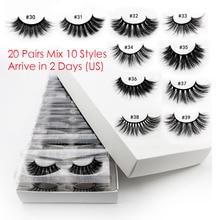 20 PCS Lashes In Bulk Mix 3d Mink Lashes Wholesale Eyelashes Natural Mink Eyelashes Wholesale False Eyelashes Makeup Lashes