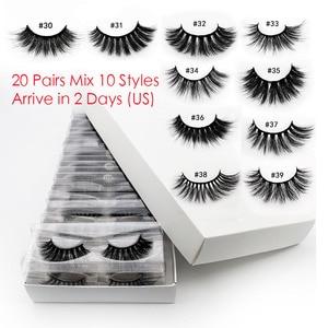 20 PCS Lashes In Bulk Mix 3d Mink Lashes Wholesale Eyelashes Natural Mink Eyelashes Wholesale False Eyelashes Makeup Lashes(China)