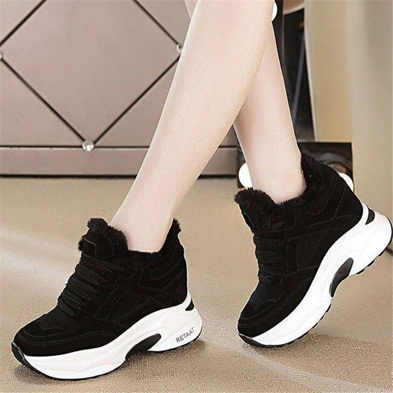 Winter Warm High Heel Sneaker Womens Platform Shoes New Cheap Sneakers Thick-Soled Female Sneakers Hidden Heels Cotton Shoes