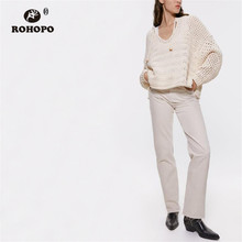ROHOPO Tie V Collar Long Sleeve Hollow Outwear Solid Sweater Winter Pullover Ladies Knitted Top #9603