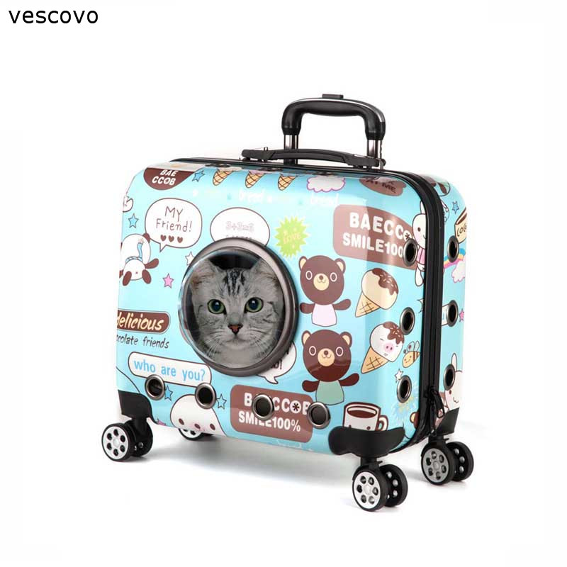 Vescovo Cartoon Pet Trolley Cat Dog Travel Suitcase On Wheel 18inch Pets Carry On Luggage