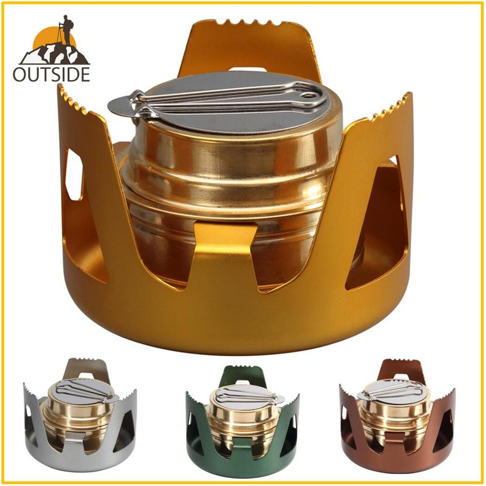 Heavy Duty Brass Alcoho Stove Burner With Aluminum Alloy Stand Lid For Outdoor Camping Hiking Backpacking Cooking Portable