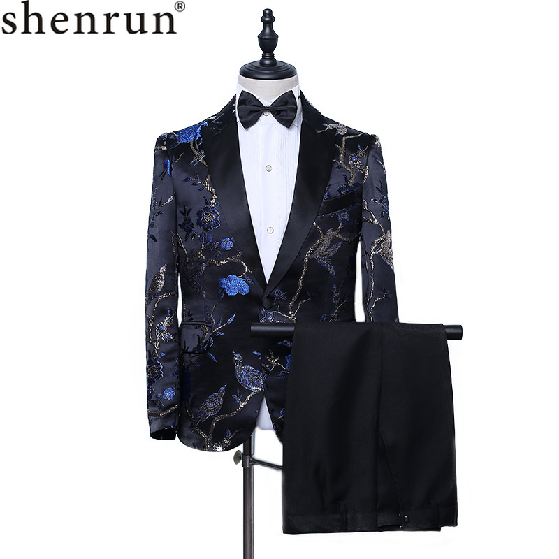 Shenrun Men Suit 2-Piece Fashion Slim Fit Embroidery Peak Lapel Groom Tuxedo Singer Host Musician Stage Show Dress Male Costume