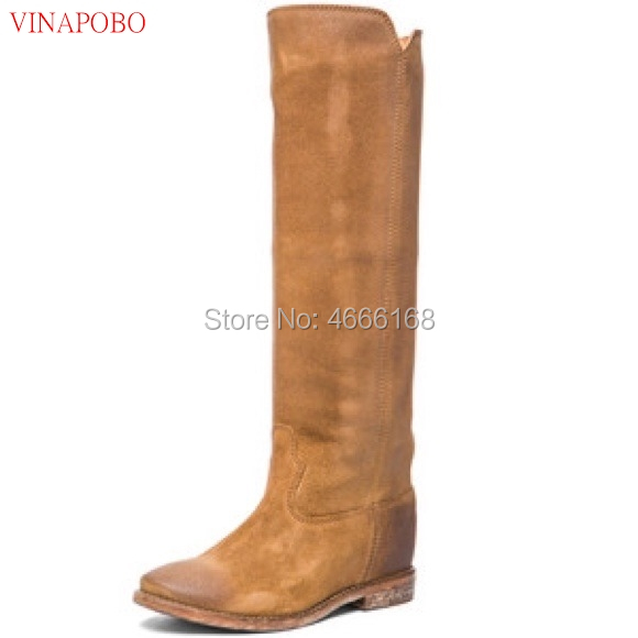 Vinapobo 2019 Top Quality Woman Genuine Leather wedge Knee High Boots Female Height Increasing Long Boots Casual Shoes Lady Boot