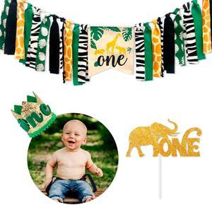 HUIRAN Jungle Theme Baby 1 One Year Happy Birthday Banner 1st Birthday Party Decoration Boy Girl Baby Shower Decor