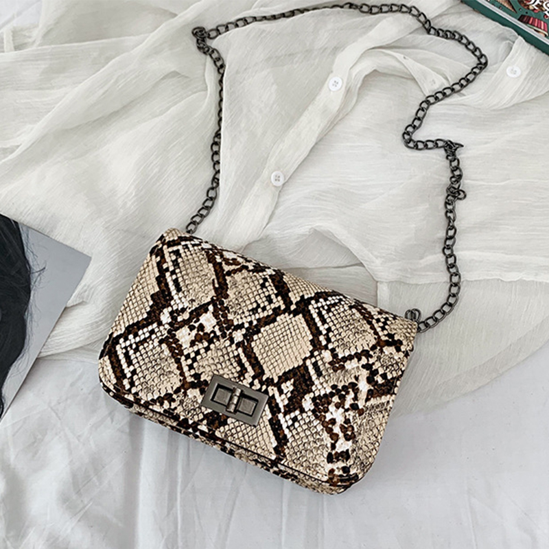 Luxury Handbags Women Bags Designer Serpentine Small Square Crossbody Bags Wild Girls Snake Print Shoulder Messenger Bag