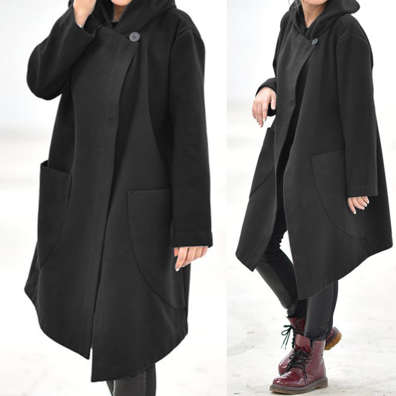 Women Coats Jackets Celmia 2020 Autumn Winter Hoodies Sweatshirts Long Hooded Tops Casual Loose Asymmetrical Outerwear Oversized