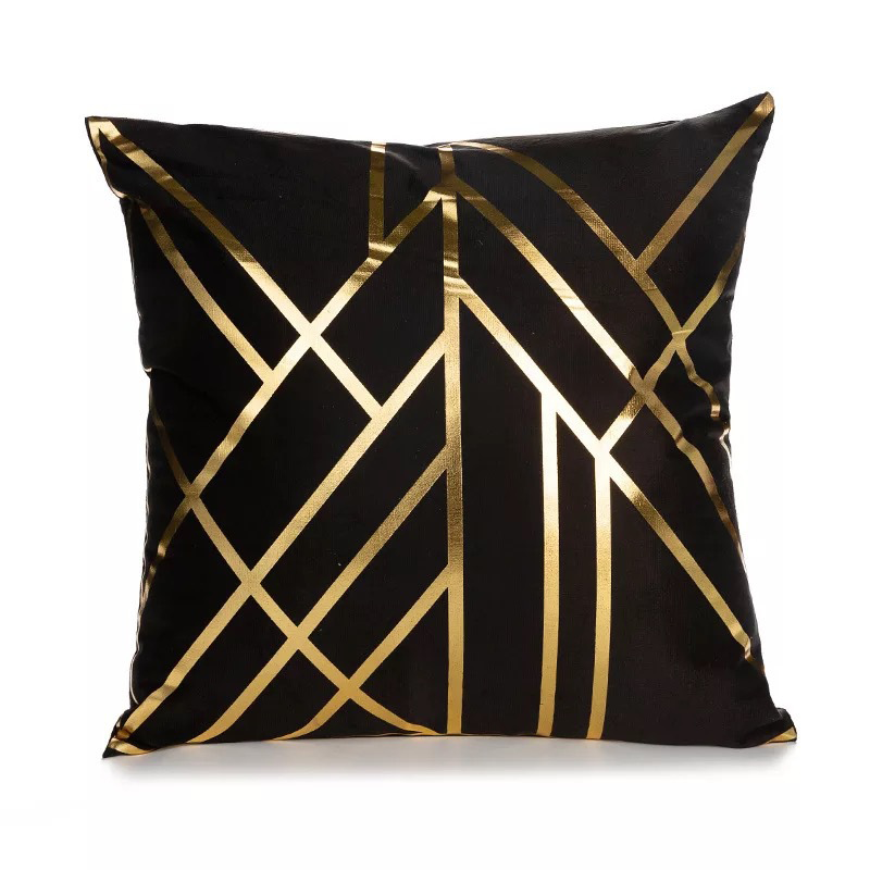 Black Gold Pillow Gometric Cushion Cover Hot Stamping Throw Pillows For Chairs Seat Pillowcase Decor Home Livingroom Decoration
