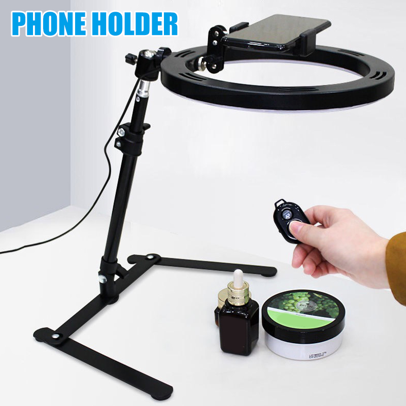 Cell Phone Holder Smartphone Bracket Mount with Fill Light for Online Class Live Vlog Recorder Tool New Arrival