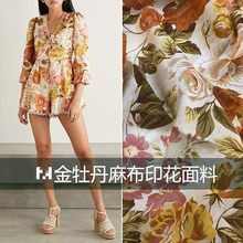 2021 New European and American Brand Linen Women 's Clothing Dress High-End Customized Printed Fabric