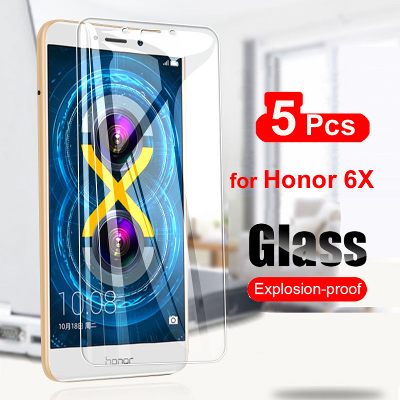 5PCS Tempered Glass For Huawei Honor 6X Screen Protector 2.5D 9H Protective Glass Film For Huawei Honor 6X Clear