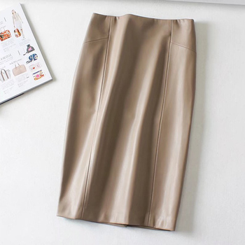 Women Sexy Soft PU Leather Pencil Midi Skirt Autumn Ladies Package Hip Back Split Faux Leather Pencil Skirt Burgundy Coffee 2