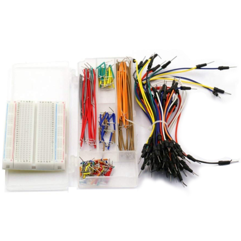 Breadboard Jumper Kit With 400-Point Breadboard +65Pcs Multiple Sizes M/M Jumper Wire +140 Pieces Preformed Jumper Wire Kit