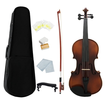 Full Size Violin Retro Acoustic Fiddle Solid Wood Spruce Maple Veneer with Bow Case Rosin Cloth Strings Shouder Rest