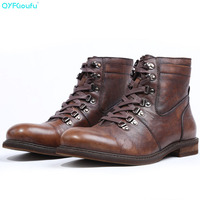 QYFCIOUFU Luxury Brand Fashion New Vintage Charm Mens Boots Genuine Leather Handmade Handsome Bullock Carved Boot For Man Male