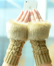 Autumn and winter warm imitation rabbit hair twist half finger gloves wool knitted mittens long ladies gloves magic gloves gloves knitted women touch screen 2019 new winter soft rabbit wool knitted gloves warm lovely girls pink heart mittens gloves