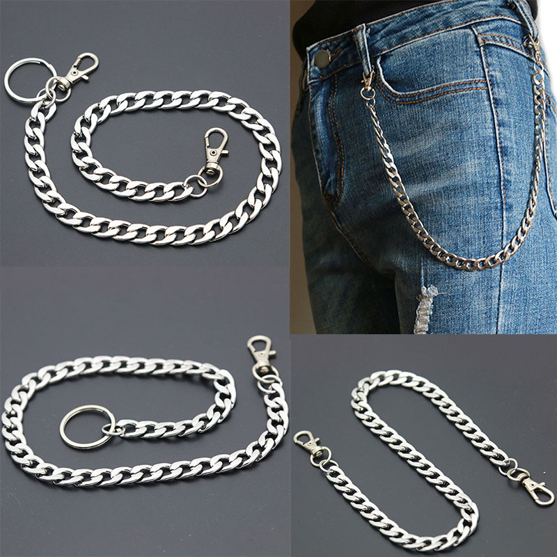 Fashion Stainless Steel Long Metal Wallet Chain Leash Pant Jean Keychain Ring Clip Men's Hip Hop  Jewelry