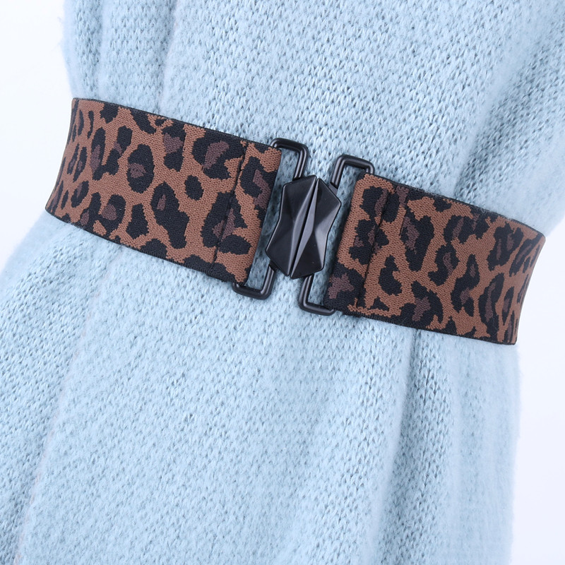 Fashion Women Belts Alloy Buckle Wide Faux Leather Stretchy Waistband For Dress Elastic Solid Casual Cummerbunds Leopard Design